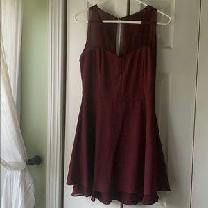 Burgundy short skater dress